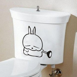 2pcs Rabbit Butterfly Wall Sticker Art Toilet Bathroom Vinyl Deco B2r