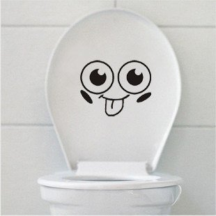 2pcs Naughty Face Wall Sticker Art Toilet Bathroom Vinyl Deco B2