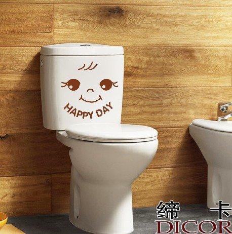 2pcs Happy Day  Wall Sticker Art Toilet Bathroom Vinyl Deco B2