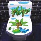 2pcs Coconut Frog Wall Sticker Art Toilet Bathroom Vinyl Deco