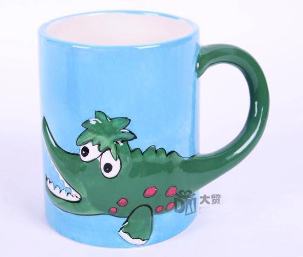 Hand Painted Cartoon Crocodilian Animal Cup Mug Vase Skull Design