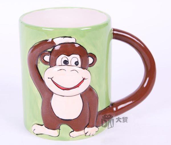 Hand Painted Cartoon Monkey Animal Cup Mug Vase Skull Design