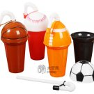 Lot of 4 Sport Football Baseball  Basketball Soccer Rugby Straw Cup Bottle Water Jug