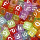 500g Transparent Acrylic Bead / Square Cube Alphabet ABC Letter Charm 6mm/ jewelry accessory