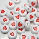 500g Red Heart Flat Acrylic Bead / 7mm Round / jewelry accessory