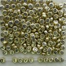 500g Gold Acrylic Bead / Round Coin Beads Alphabet ABC Charm 6mm/ jewelry accessory