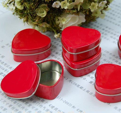 10pcs Jewelry Display Red Heart Love Tin Box Gift Box Case Office Organizer