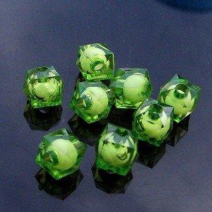 500g Acrylic Square Bead White Core Inside Dye / Craft  Jewelry accessory Lantern Green