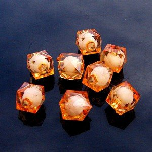 500g Acrylic Square Bead White Core Inside Dye / Craft  Jewelry accessory Lantern Orange