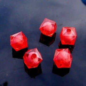 500g Acrylic Square Bead White Core Inside Dye / Craft  Jewelry accessory Lantern Red