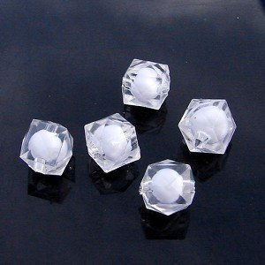500g Acrylic Square Bead White Core Inside Dye / Craft  Jewelry accessory Lantern Transparent