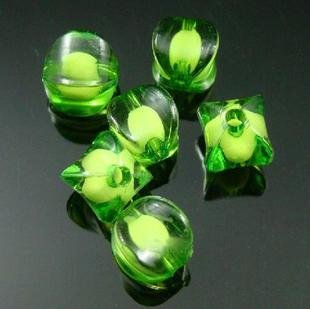 500g Acrylic Corner Bead White Core Inside Dye / Craft  Jewelry accessory Lantern Green