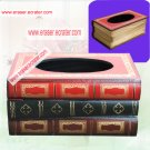 Wooden Stack Book Tissue Box Holder Gift/Decor b2
