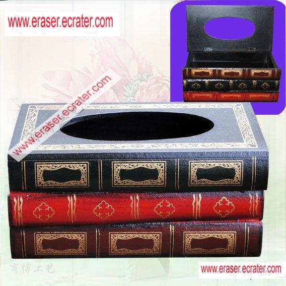 Wooden Stack Book Tissue Box Holder Gift/Decor b3