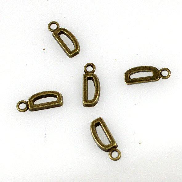 500pcs Alphabet D jewelry bracelet metal Charm Bead  16 X 6mm