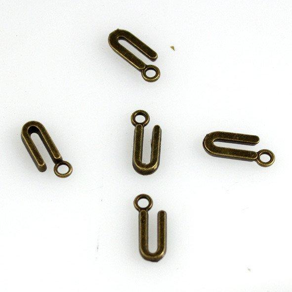 500pcs Alphabet U jewelry bracelet metal Charm Bead  16 X 6mm