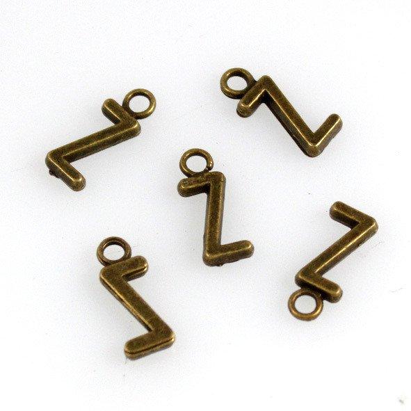 500pcs Alphabet Z jewelry bracelet metal Charm Bead  16 X 6mm