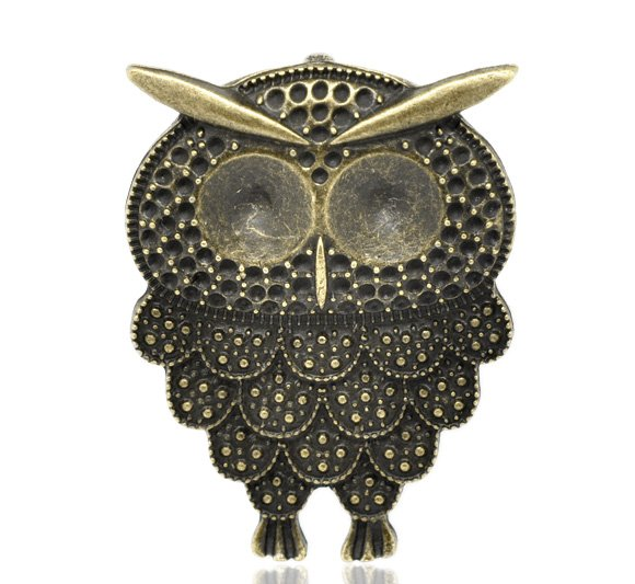 100pcs Owl jewelry bracelet metal Charm Bead  26 X 20mm