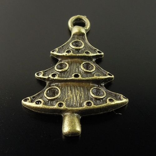 300XDollhouse Christmas Tree  /jewelry Pendant metal alloy charm 26 x 18mm CM904