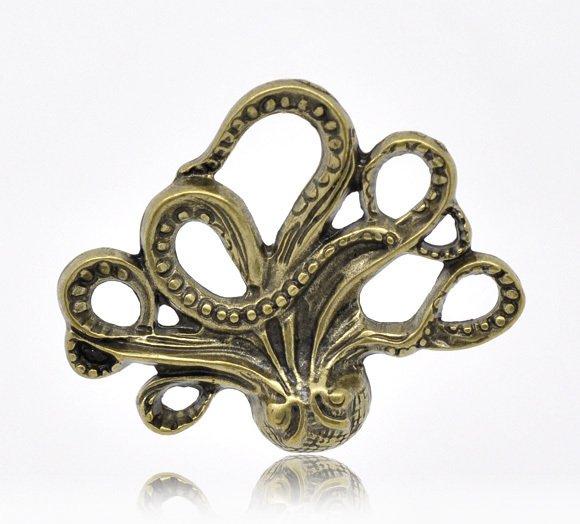 60 XDollhouse Octopus  /jewelry Pendant metal alloy charm 44 x 36mm