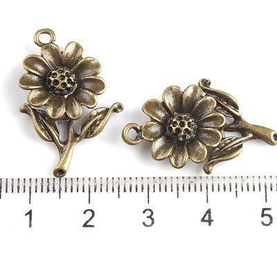 300 XDollhouse Sunflower  /jewelry Pendant metal alloy charm 27 x 18mm