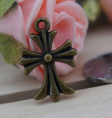 300 XDollhouse Cross  /jewelry Pendant metal alloy charm 19 x 16mm