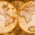 Antique Navigation World Map Cotton Canvos Map Retro Map 89 x 30cm