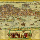 Antique Venice World Map Cotton Canvos Map Retro Map 90 x 50cm