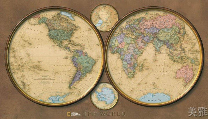 Antique World Clock Map Cotton Canvos Map Retro Map 108 x 62cm