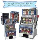 New Lucky Slot Machine Piggy Bank. Casino Style, Jackpot - Triple Bars & 7s Win