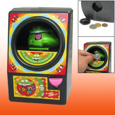 Black Plastic Magic Elfin Piggy Coin Bank Money Saving Box