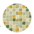 Mosaic Sticker Tile Transfer Bathroom Kitchen 50cm x 50cm Orange Green