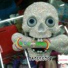 Crystal Rhinestone Skull Bone Flash Telephone Unique Flash Eye White