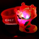 Adjustable Lot of 12pcs Xmas christams sock Luminous bracelet bangle Party Favor LB005