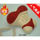 Rhinestone Crystal Bikini Novelty Retro Corded Telephone Red