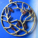 Winter Berries Necklace Pendant with crystal antique brass tree of life NW137