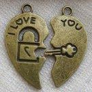Lot of 300pcs mini brass key padlock heart dollhouse miniature toy/jewelry Charm CM618