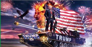 New, Rare 3x5ft 2016 President Donald Trump on the tank digital printing flag