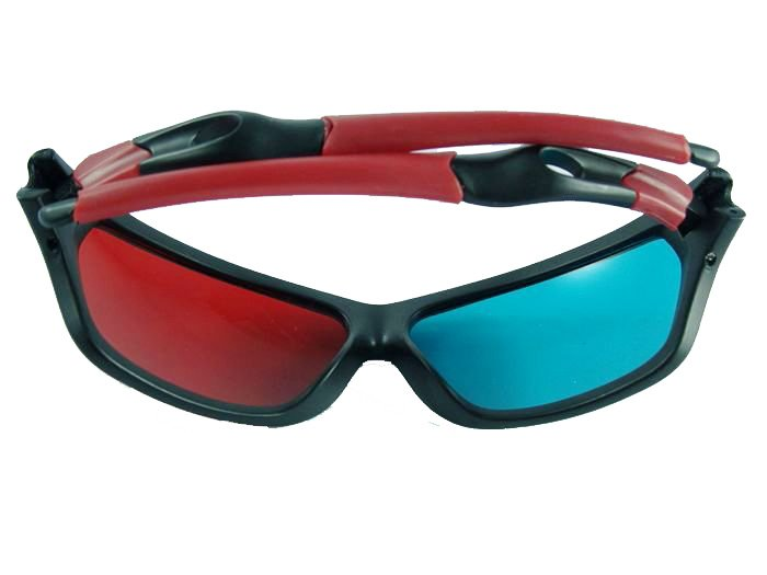 2 Pairs /lot Cool Blue Red 3D 3-D Glasses for Movie & Game & TV