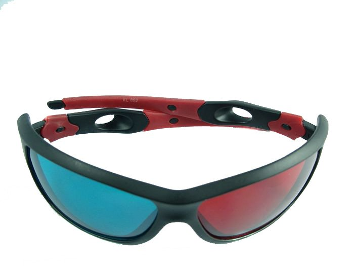 6 Pairs /lot Cool Blue Red 3D 3-D Glasses for Movie & Game & TV