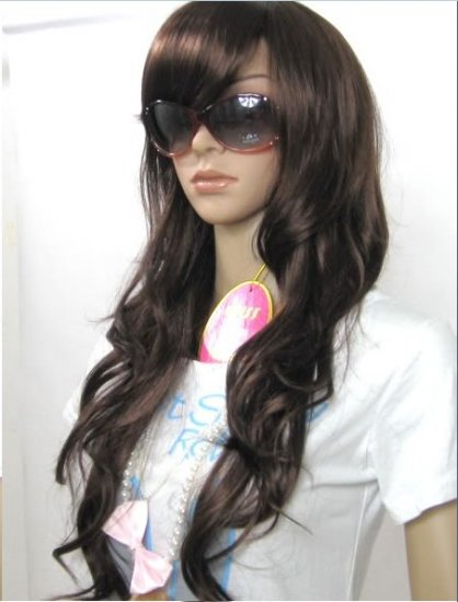 Woman long Dark Brown Cosplay Party Hair wigs WL40