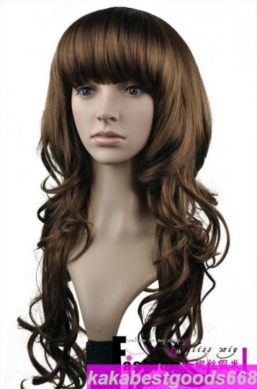 Woman Long Light Brown Cosplay Party Hair Wigs Wig WL42