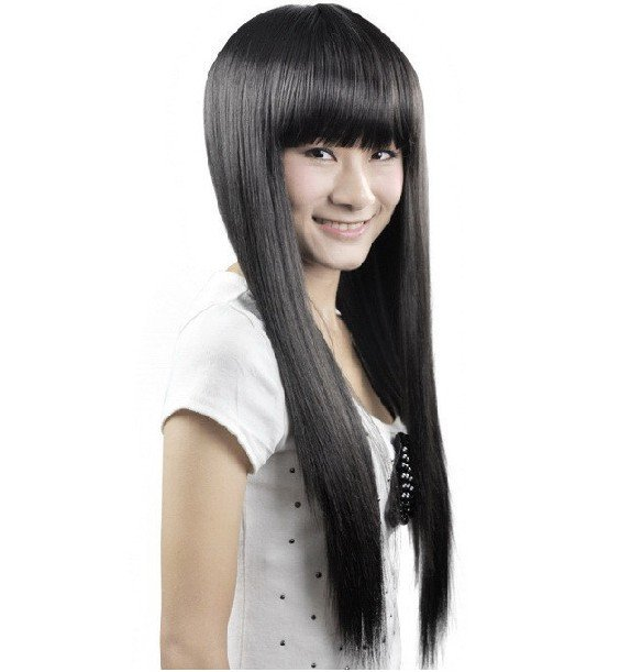 LONG BLACK STRAIGHT COSPLAY PARTY HAIR FULL WIGS WL53