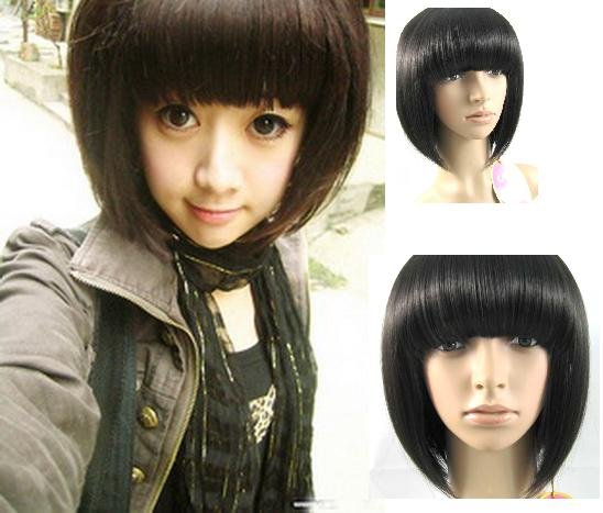Name: Woman Short Black Straight Fashion Wigs With Wig Cap WD01