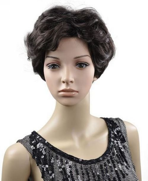 Middle aged Lady Dark Brown Short Wave Cosplay Party Hair Full wigs WD45