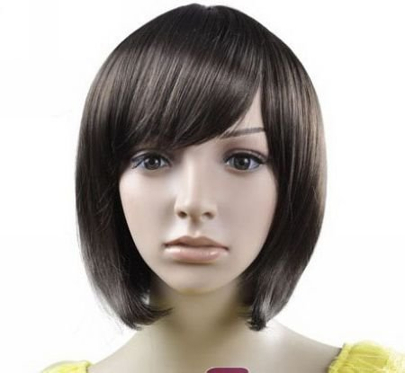 Dark Brown Short Straight Cosplay Party Hair Full wigs WD47