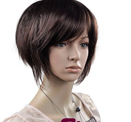 Dark Brown Short Straight Cosplay Party Hair Full wigs WD48