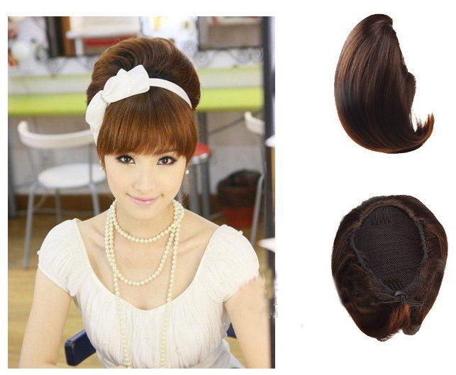 Girl's Big Hair Bun wig Hair Extensions For Bride PP06