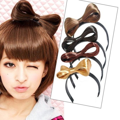 Girls Headband Hair Band Bowknot Butterfly Tie Wigs Extension PP10