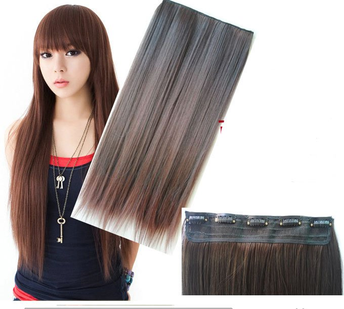 Girl's 5Clips Straight Hairpiece Wig Hair Slice Wig Extensions PP18